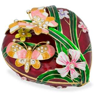 Large Valentine Heart Shaped Jewelry, Trinket Box