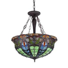 Stained Glass Inverted Ceiling Pendant Light