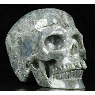 Large Size Labradorite Gemstone Carved Skull