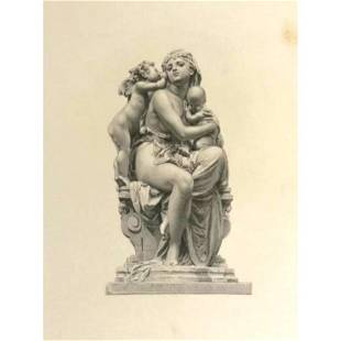 19thc Engraving, Mother With Children Sculpture