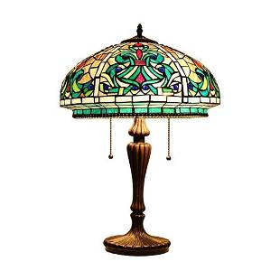 Victorian Style 2-Light Stained Art Glass Lamp