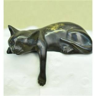 After Mene, Recumbent Cat Bronze Desk Sculpture