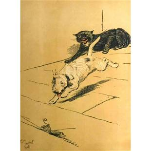 Early 1900's Lithograph, A Dog Day, Cecil Alden