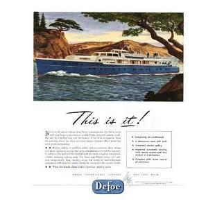 Original 1946 Defoe Luxury Yacht Advertisement