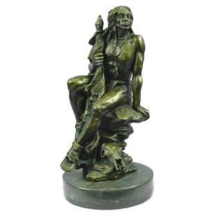 Native American Indian Warrior Bronze Sculpture