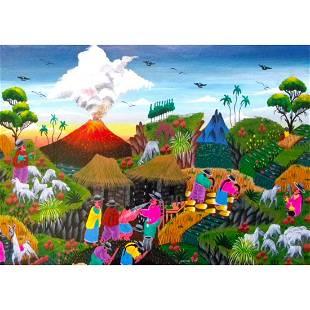 Vintage Folk Art, Equador Village Scene, Animal Skin