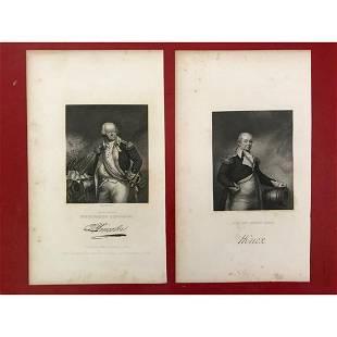 Pair of 19thc Steel Engravings, Revolutionary War