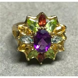 Multi Gemstone Sterling Cocktail Ring