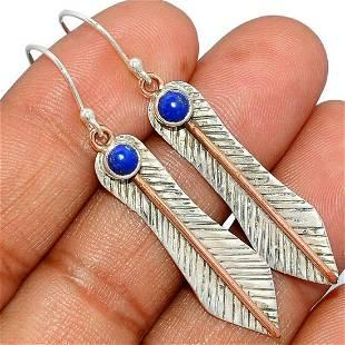 Lapis Lazuli Gemstone & Sterling Feather Earrings