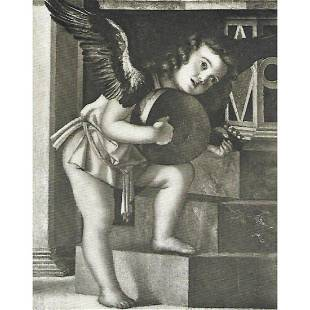 Early 1900's Half-tone Print, #248 Angel with Guitar