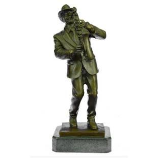 Signed Saxophone Player, Musician Bronze Sculpture