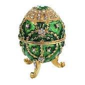 Russian Enamel Royal Gilt Trinket Jewel Box Egg