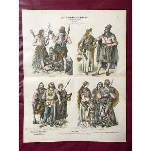 Rare 19thc Costume Plates, Ancient Germans