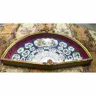 19thc Shadowbox Framed Courting Hand Fan