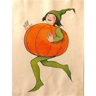 1914 Children's Book Lithograph, Pumpkin