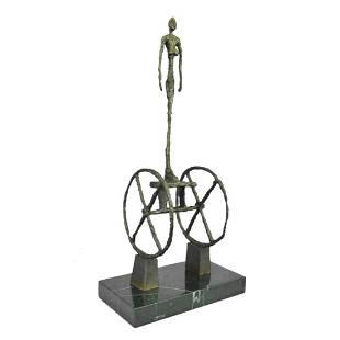 Surrealist Woman & Chariot Bronze Sculpture