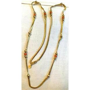 Designer GIVENCHY Gold Enamel & Crystal Necklace