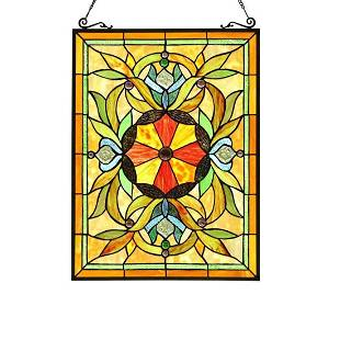 Multi Color Stained Art Glass Hanging Window Panel