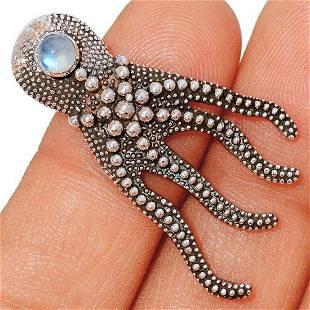 Rainbow Moonstone Sterling Silver Octopus Pendant