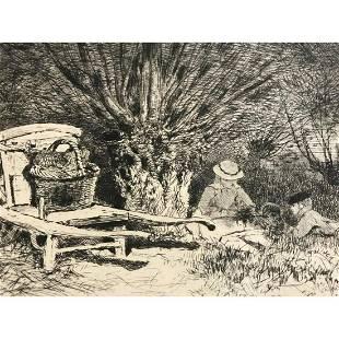 Original 19thc French Etching, Edmond Yon, French