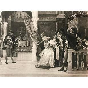 19thc Photogravure Print, Portia, Merchant of Venice