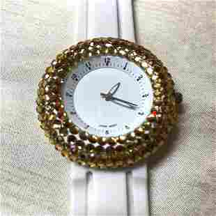 Vintage Enamel & Rhinestone Rubber Band Wristwatch