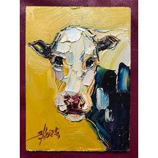 20thc Signed Impressionist Oil Painting, Cow