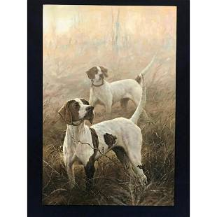 English Pointer Hunting Dogs Oil Painting