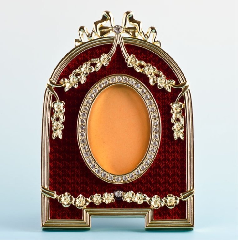 Red Enamel Faberge Inspired Picture Frame