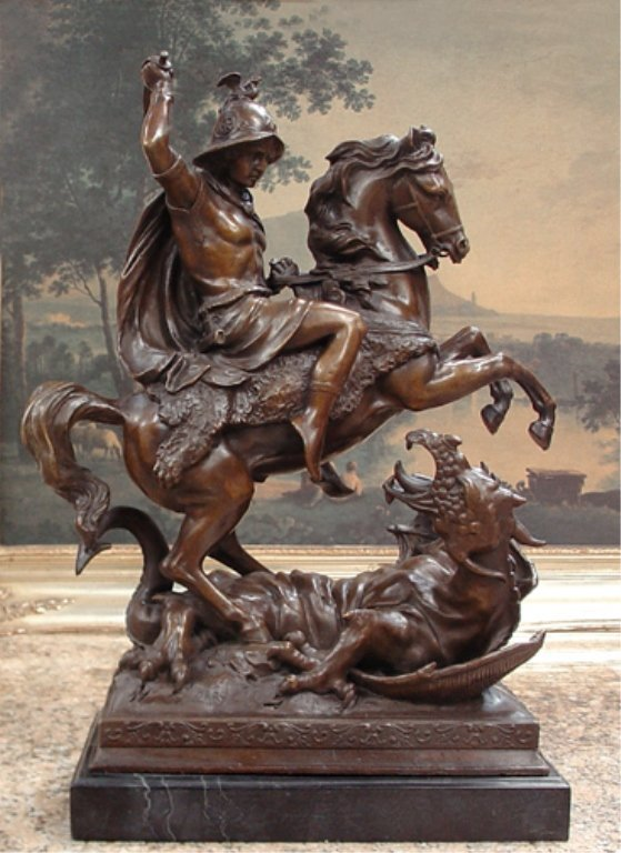 Majestic Bronze Sculpture St Michael Dragon Slayer