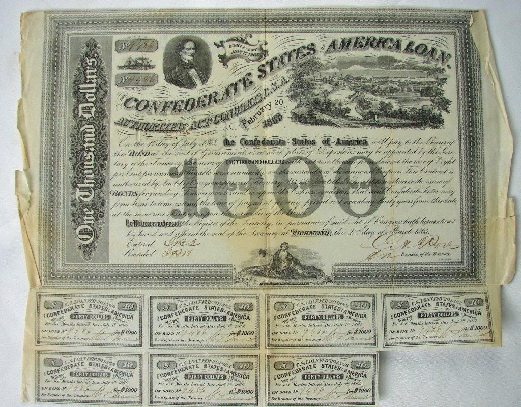 Confederate $1000 war bond dated Feb. 20, 1863 and