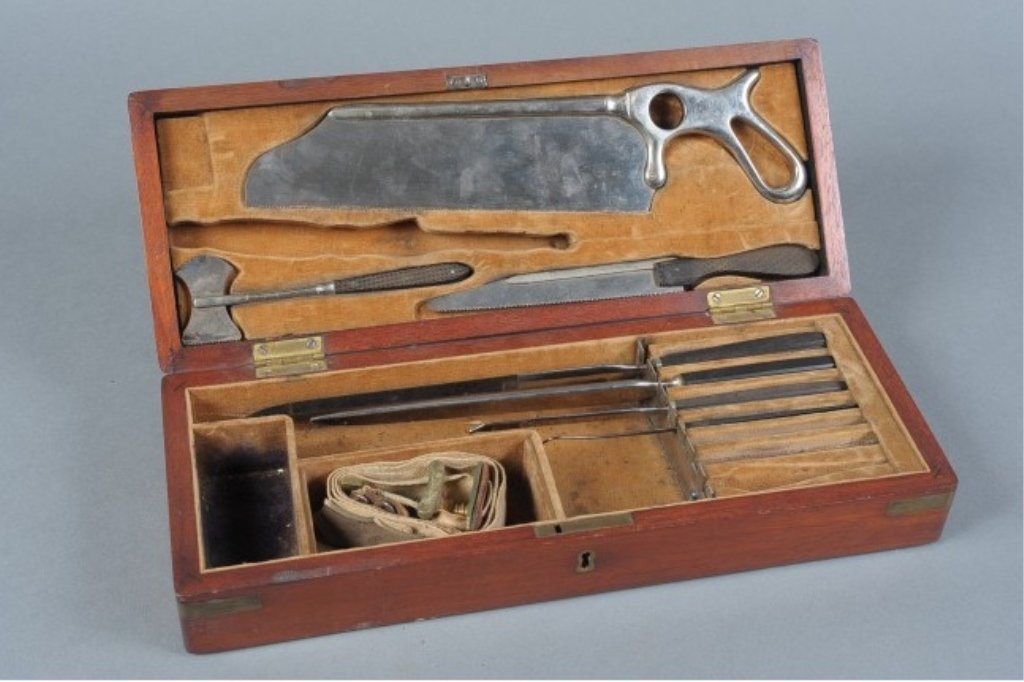 A 19TH CENTURY SURGICAL AND AMPUTATION KIT