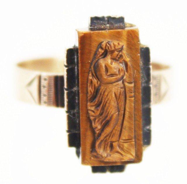 14K YELLOW GOLD LADIES ART NOUVEAU FIGURAL RING
