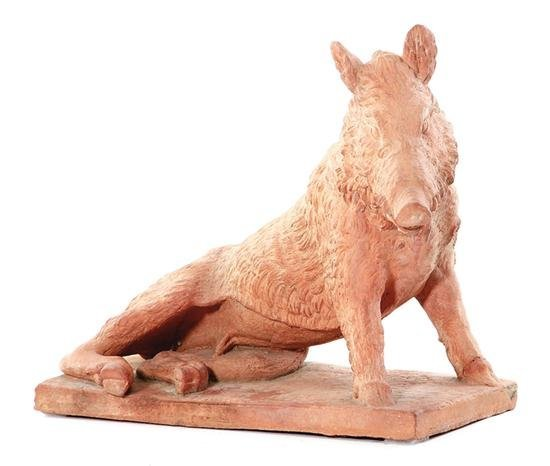 Terracotta Boar Recumbent On Matching Plinth