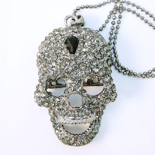 Swarovski Crystal Skull Teardrop Pendant Necklace