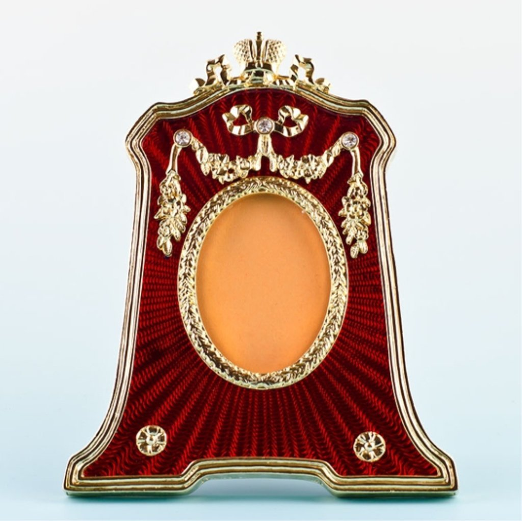 Red Guilloche Enamel Faberge Inspired Frame