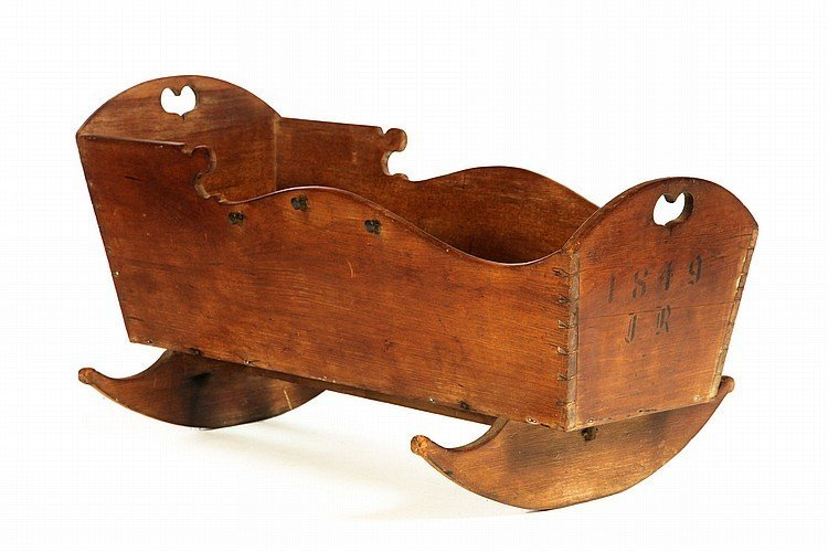 CRADLE. Probably Ohio or Indiana, dated 1849, waln