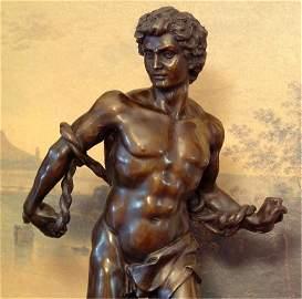 Roped Warrior Bronze Sculpture