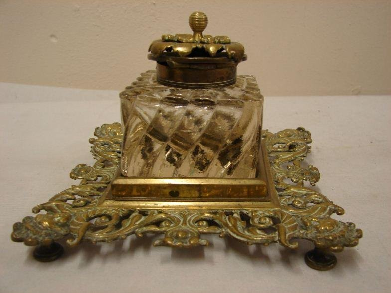 19th C brass and glass inkwell