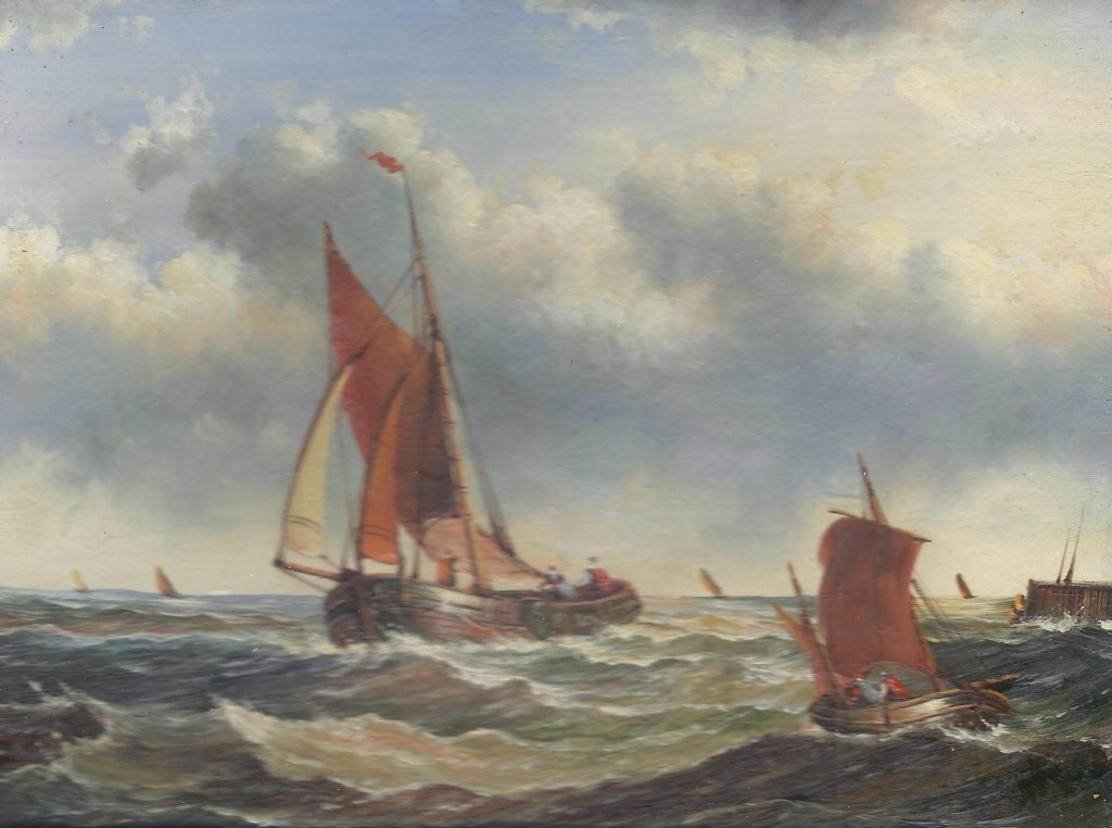 5x7 Oil on Board Depiciting Sailboats at Sea Scene