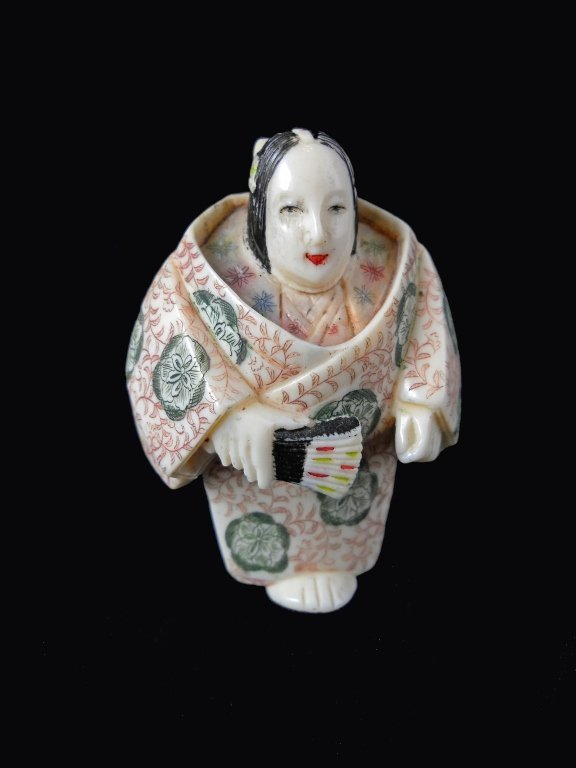 Signed Hand Carved Ivory Female Netsuke