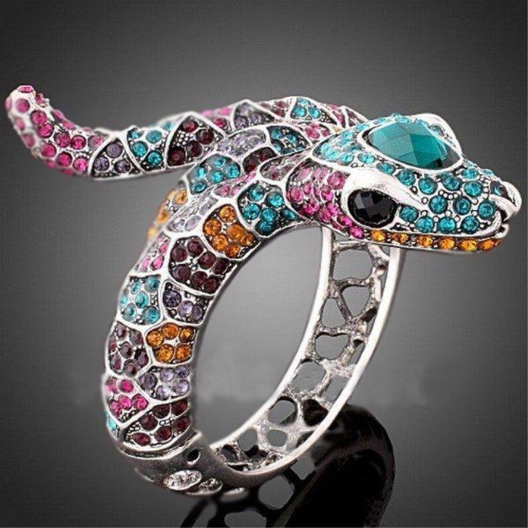 Multicolor Crystal Serpent Bangel Bracelet