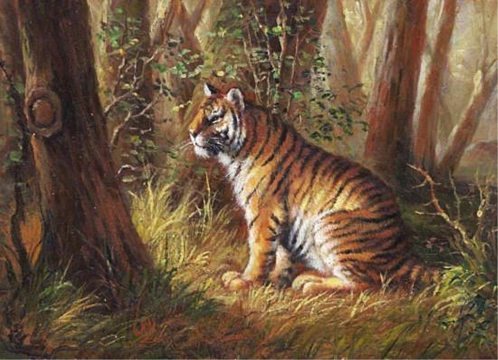5 x 7 Oil on Board ~Tiger in Jungle~