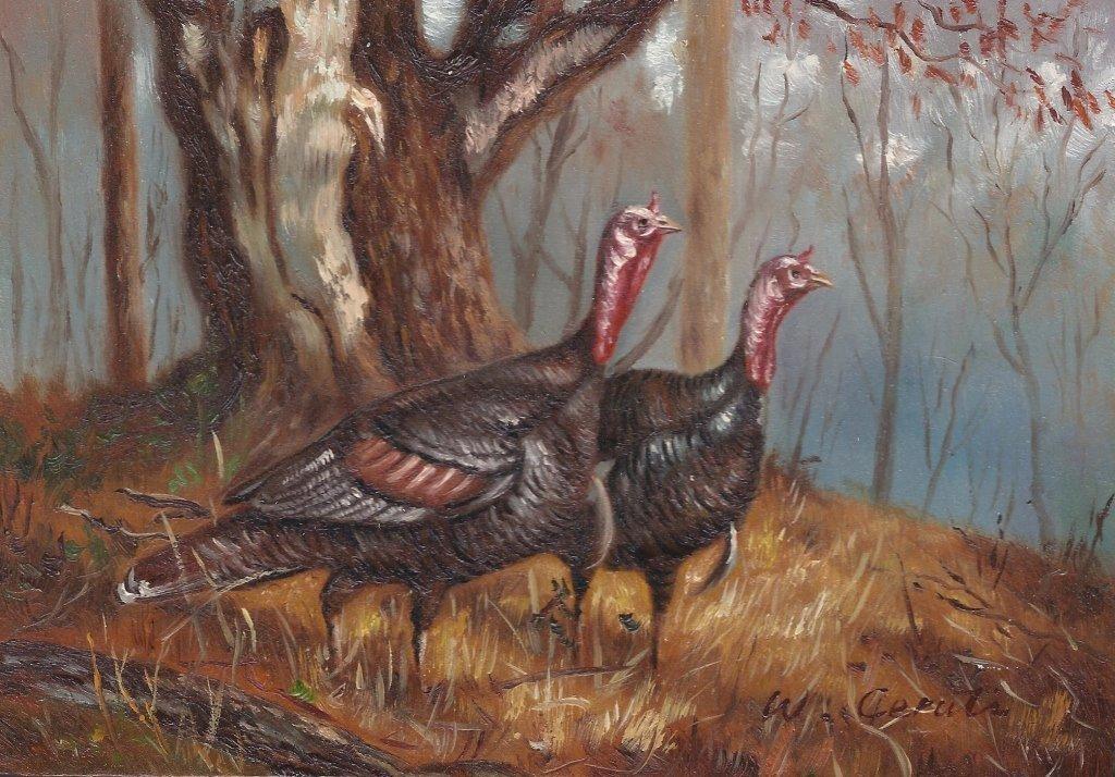 5x7 Oil on Board Depiciting Wild Turkey Scene