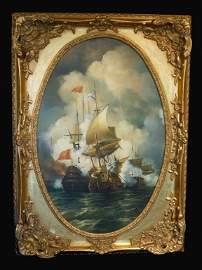 """Circa 1820"" British School Naval Battle Scene"
