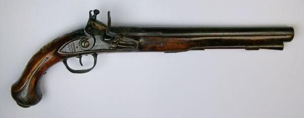Continental flintlock holster pistol signed Lagari