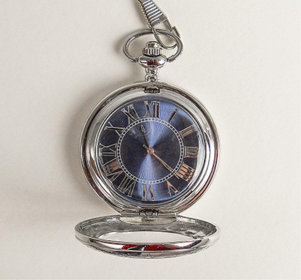 Men's Pocket Watch W/blue Face