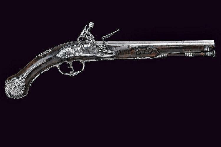 A flintlock pistol Smooth, round, 12 mm cal.