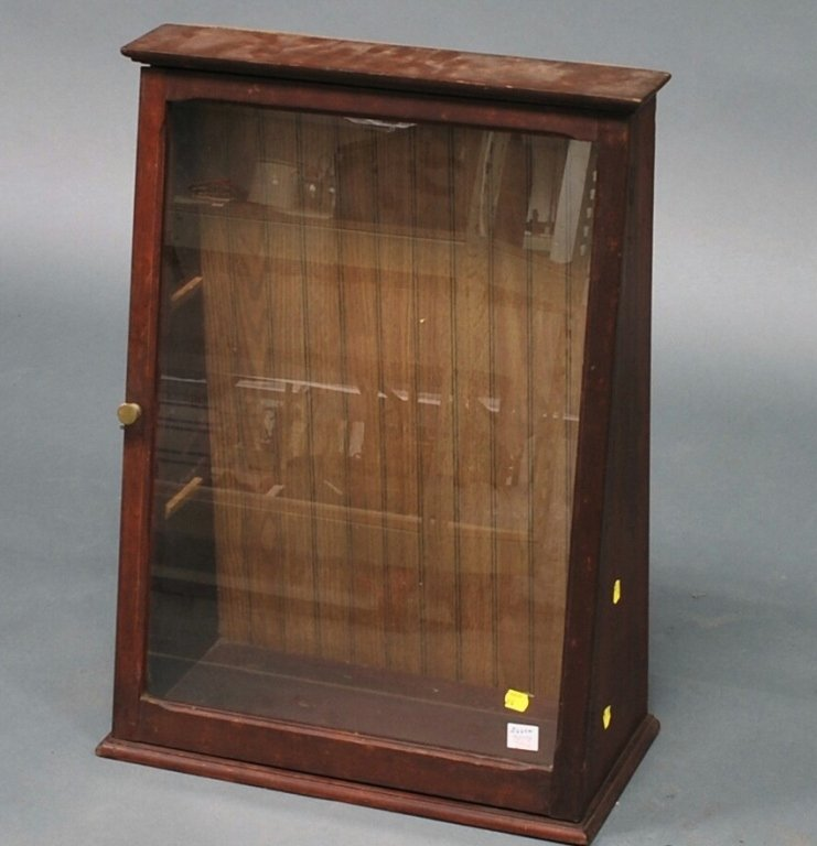 Stained Birch Slant-front Counter Display Cabinet
