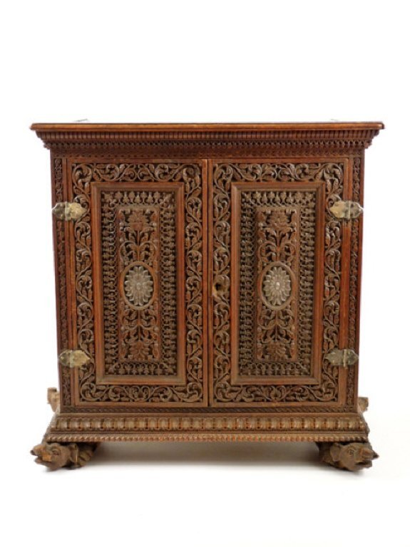 An Anglo-Indian carved Table Cabinet, c.1880, prof